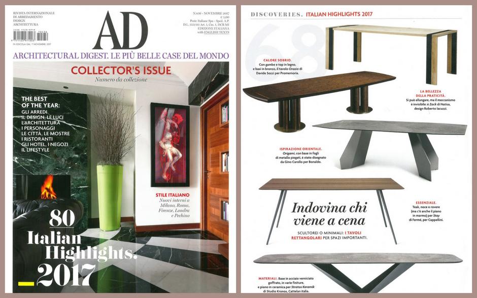 I nostri tavoli e sedie di design nelle riviste di for Riviste di arredamento