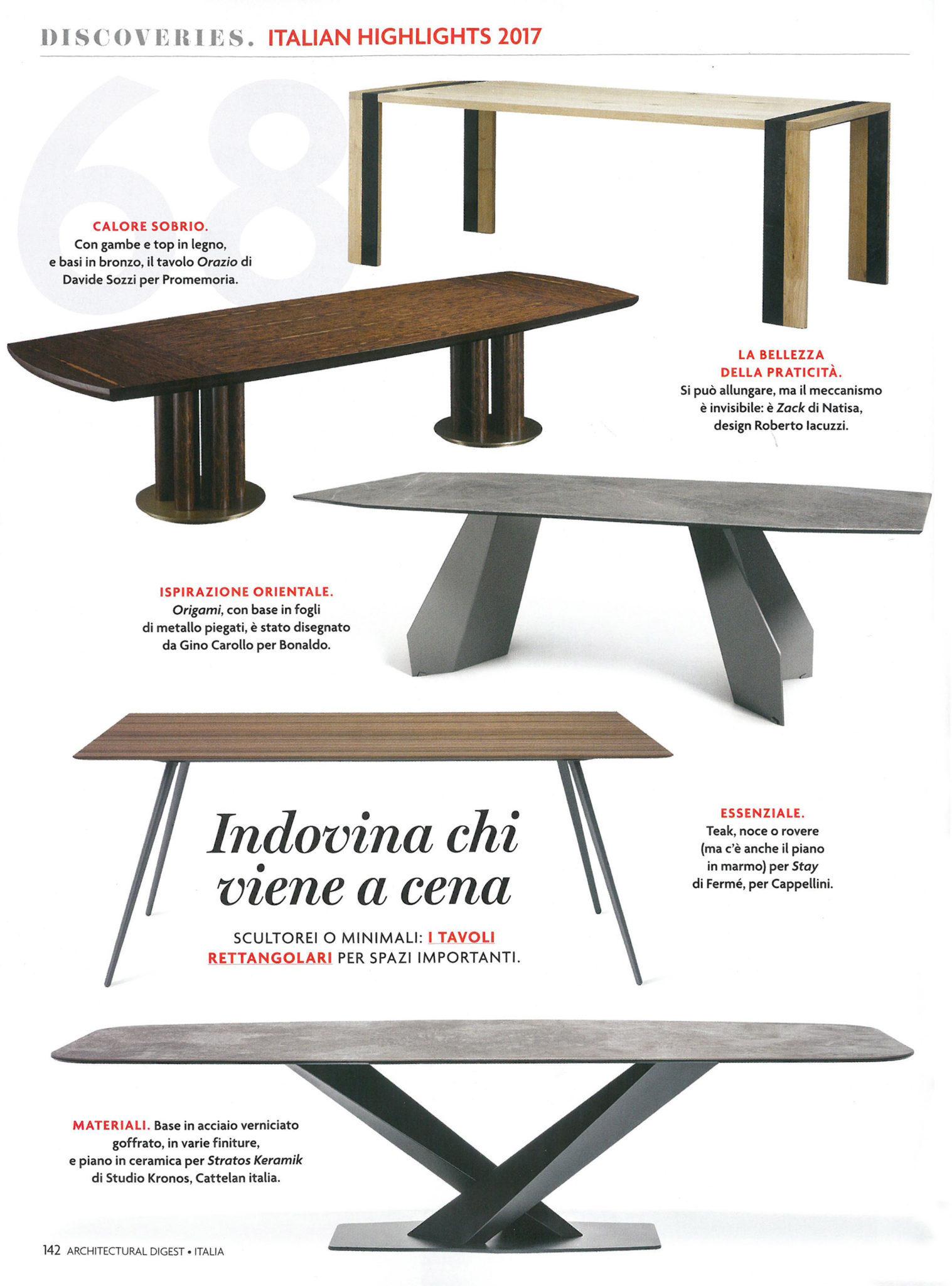 I nostri tavoli e sedie di design nelle riviste di for Sedie di design 2017