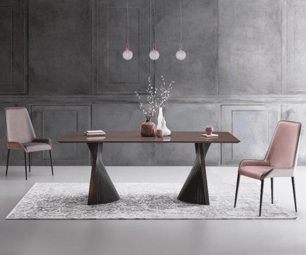 tavolo di design living natisa bow con sedie